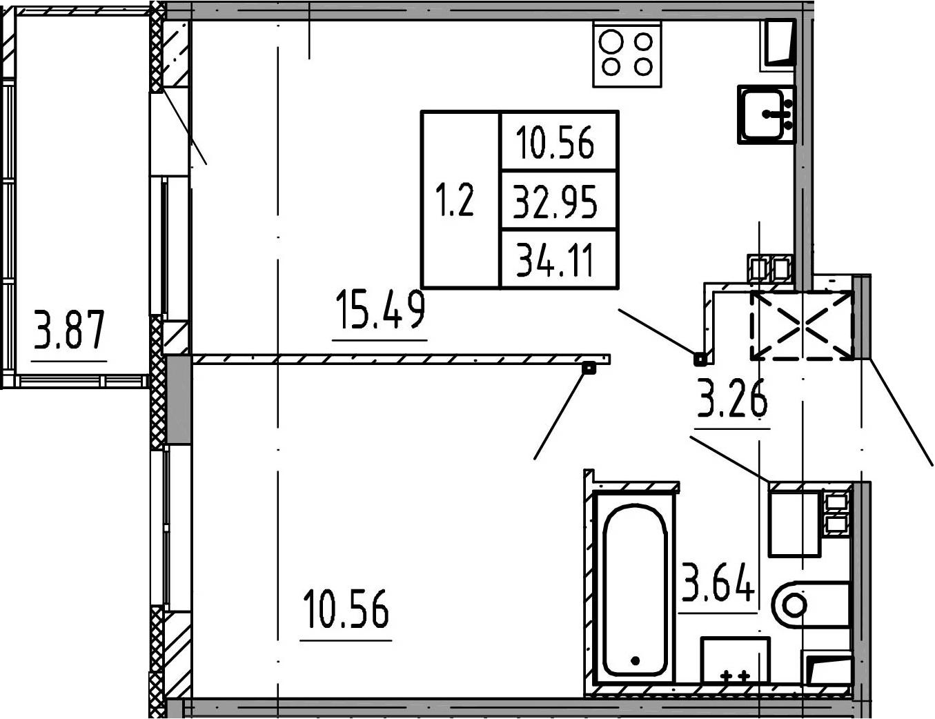 2Е-к.кв, 32.95 м², 4 этаж