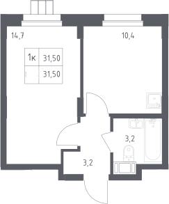 1-к.кв, 31.5 м²