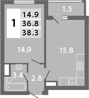 2Е-к.кв, 38.3 м², 13 этаж
