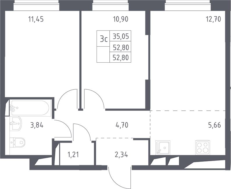 3Е-комнатная, 52.8 м²– 2