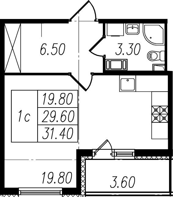Студия, 29.6 м²