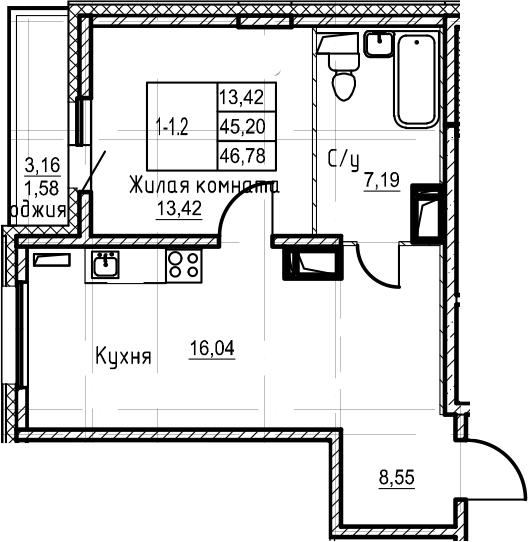 2Е-комнатная, 46.78 м²– 2