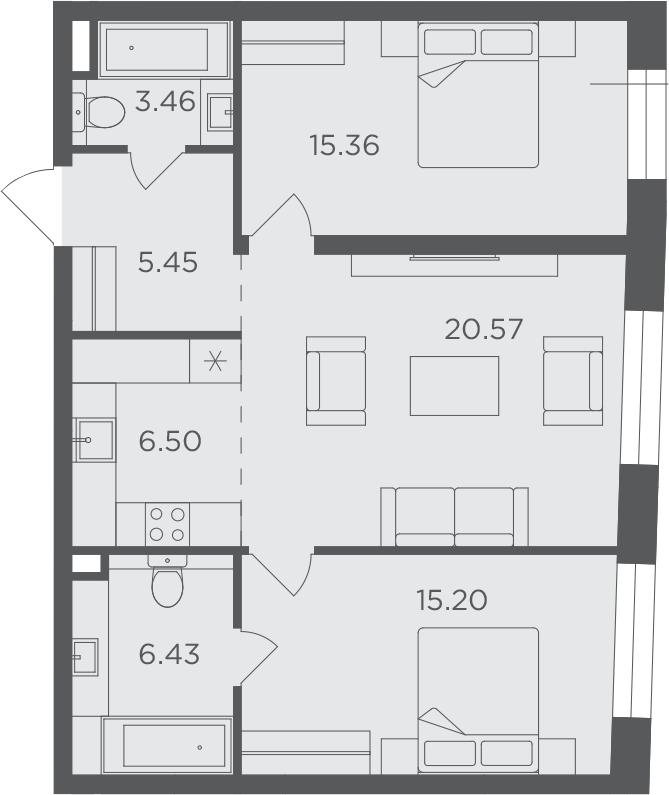 3Е-к.кв, 72.97 м², 6 этаж