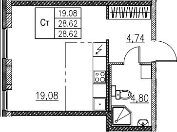 Студия, 28.62 м²– 2