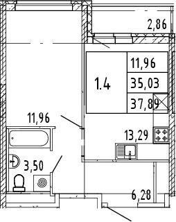 2Е-комнатная квартира, 36.46 м², 5 этаж – Планировка