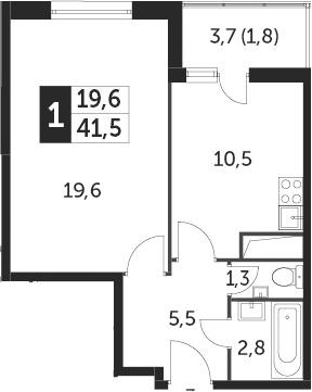 1-к.кв, 41.5 м², 4 этаж