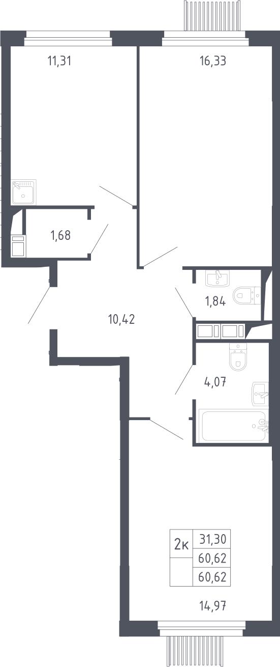 2-к.кв, 60.62 м²
