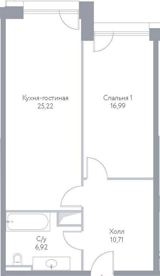 2Е-к.кв, 59.78 м², 14 этаж
