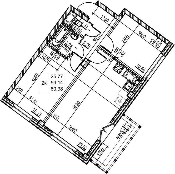 3Е-к.кв, 60.38 м², 5 этаж