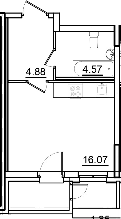 Студия, 27.58 м², 2 этаж