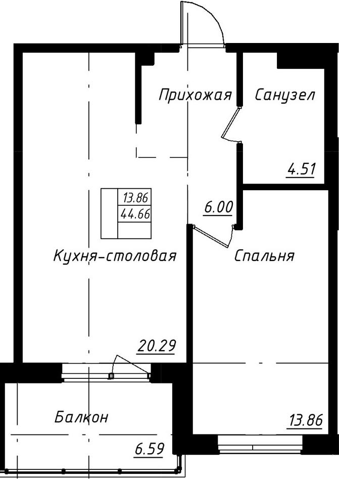 2-к.кв (евро), 51.25 м²