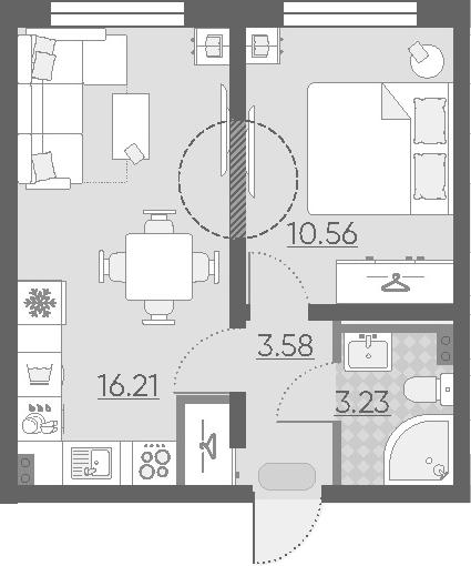 2Е-комнатная, 33.58 м²– 2