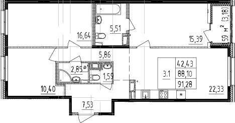 4Е-комнатная, 88.1 м²– 2