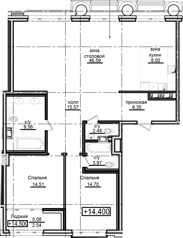 3Е-комнатная, 124.27 м²– 2
