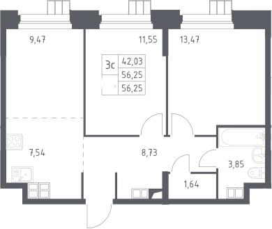 3Е-к.кв, 56.25 м², 13 этаж