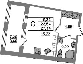 Студия, 23.54 м², 19 этаж
