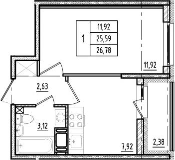 1-к.кв, 25.59 м²