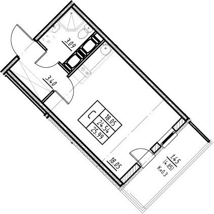 Студия, 24.54 м², 21 этаж