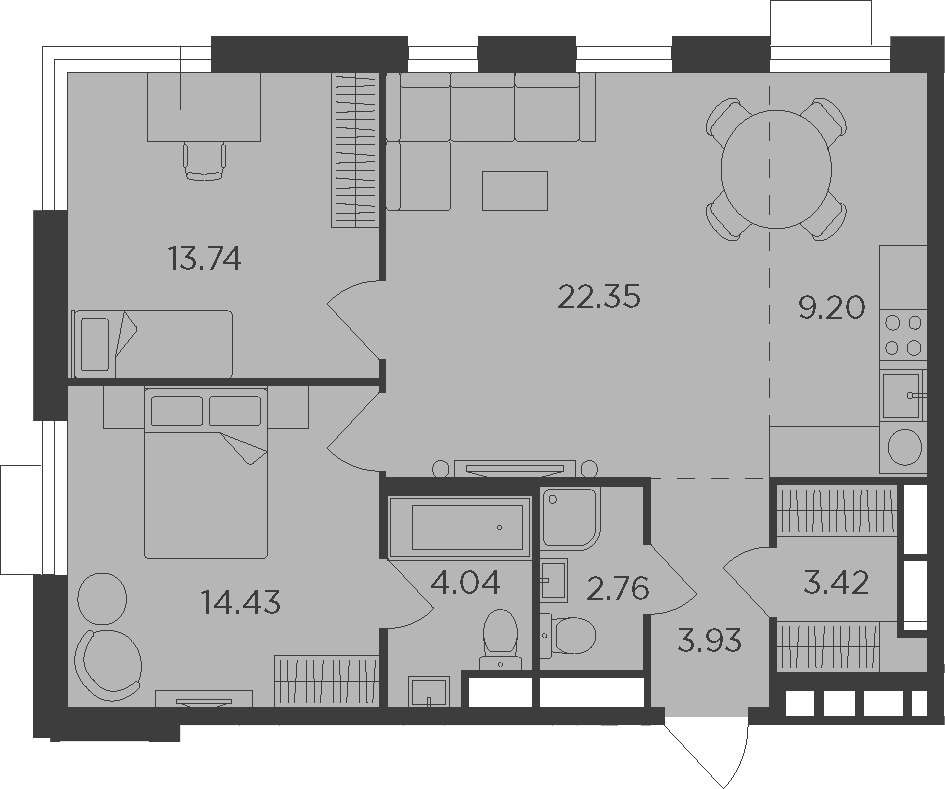 3Е-комнатная, 73.87 м²– 2