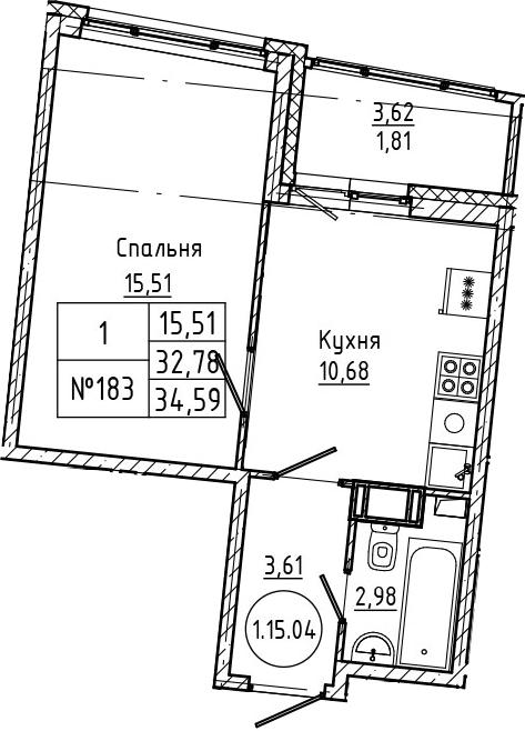 1-комнатная, 34.59 м²– 2