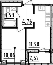 1-к.кв, 30.25 м², от 3 этажа