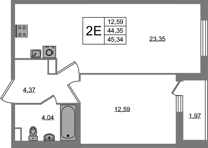 2-к.кв (евро), 46.33 м²