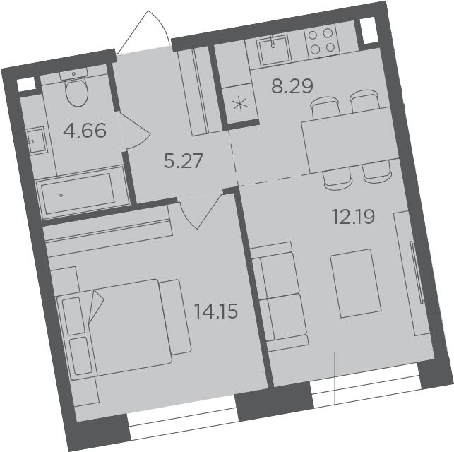 2-к.кв (евро), 44.56 м²