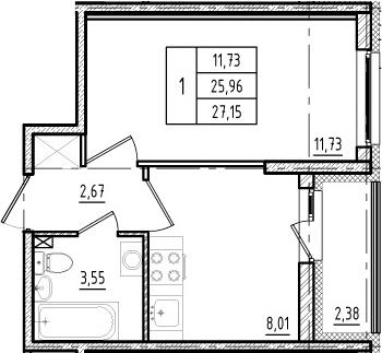 1-к.кв, 28.34 м²