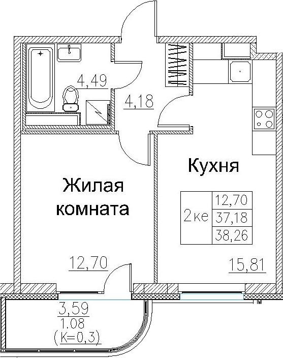 2Е-к.кв, 38.26 м², 2 этаж