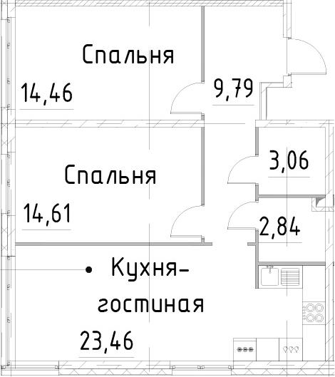 3Е-к.кв, 68.22 м²