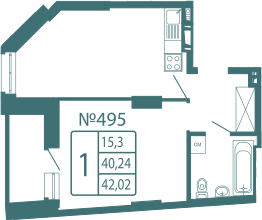 1-к.кв, 42.02 м²