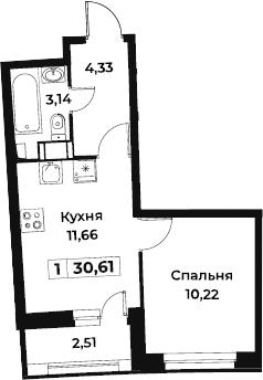 1-к.кв, 30.61 м², от 3 этажа