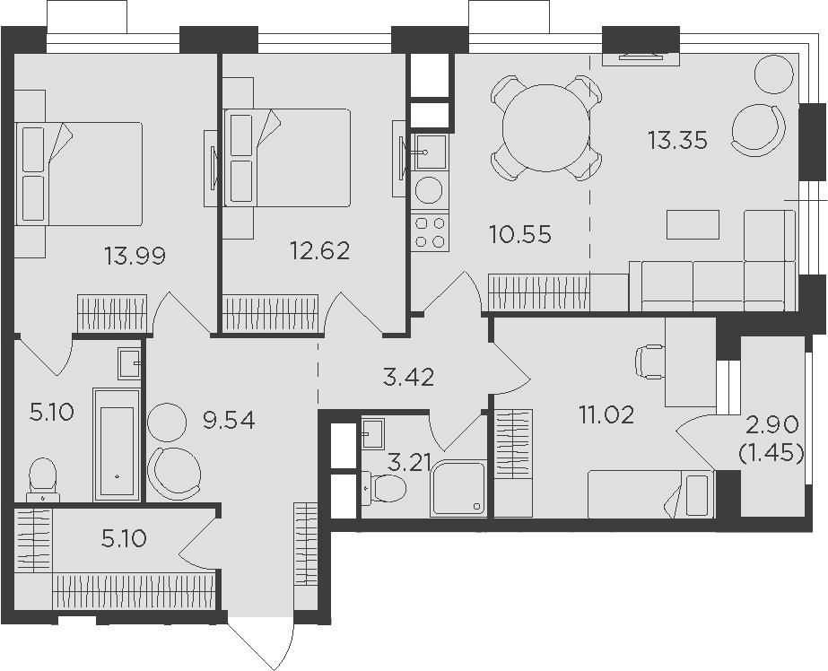 4-к.кв (евро), 90.8 м²