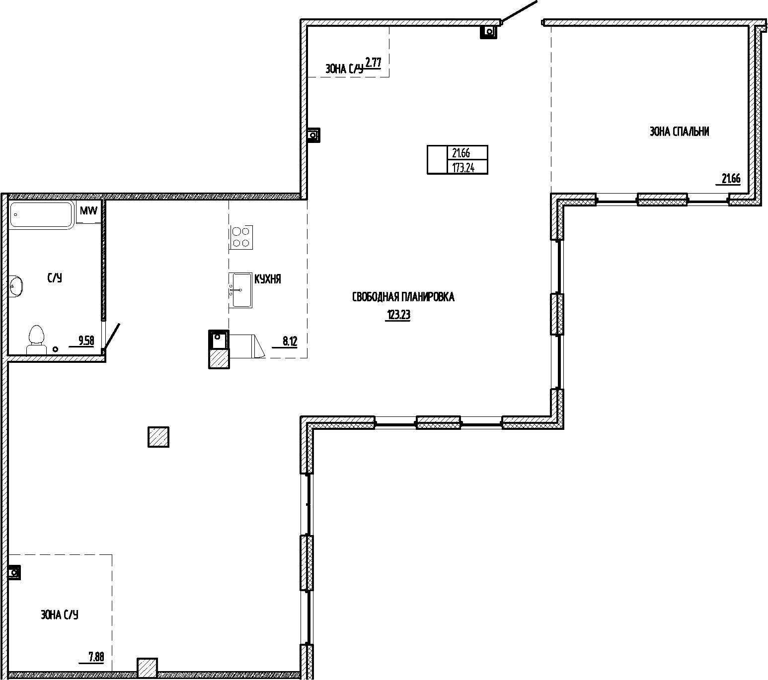 Свободная планировка, 173.24 м²– 2