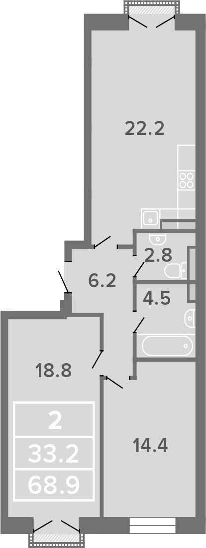 2-к.кв, 68.9 м²