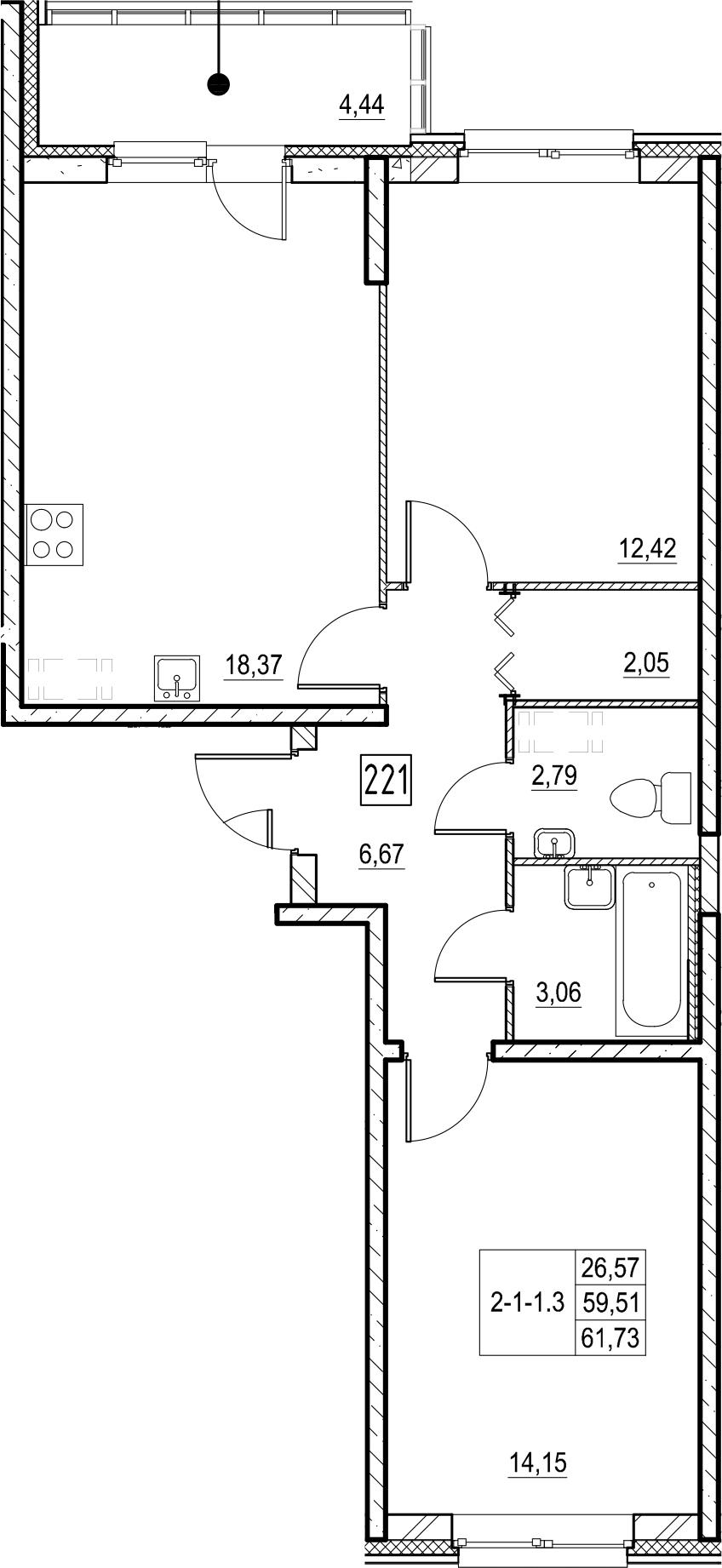 3-к.кв (евро), 63.95 м²