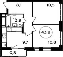 2-комнатная квартира, 43.8 м², 16 этаж – Планировка