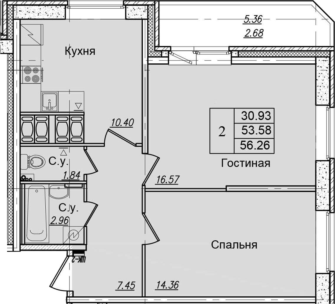 2-к.кв, 58.94 м²