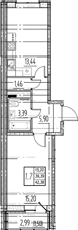 1-комнатная, 39.39 м²– 2