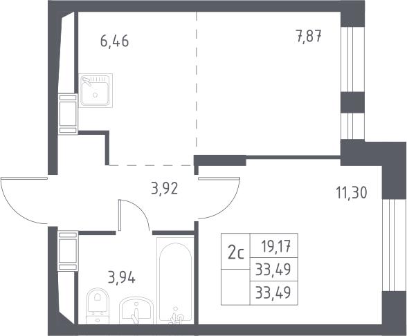 2Е-к.кв, 33.49 м², 14 этаж