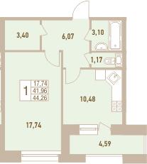 1-к.кв, 46.55 м²