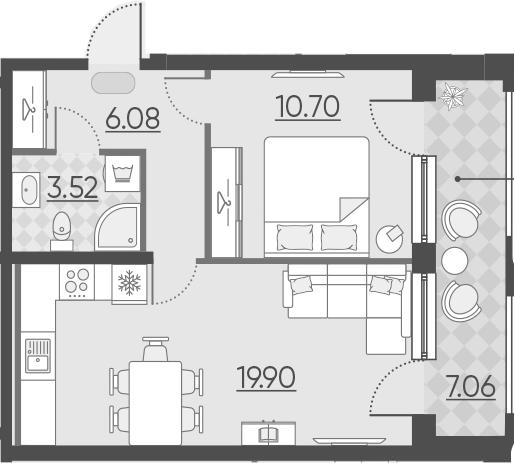 2Е-комнатная, 47.26 м²– 2