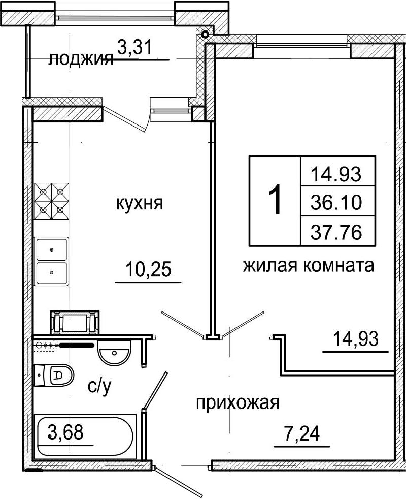1-к.кв, 39.41 м²