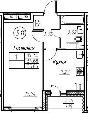 1-к.кв, 35.86 м², от 15 этажа