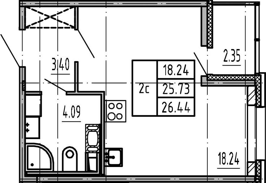 Студия, 28.08 м²