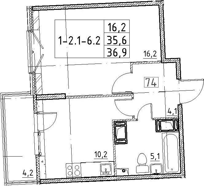 1-к.кв, 36.9 м², 3 этаж