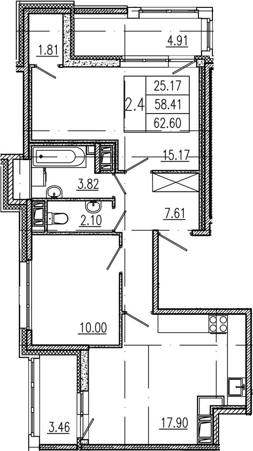 3Е-комнатная, 58.41 м²– 2