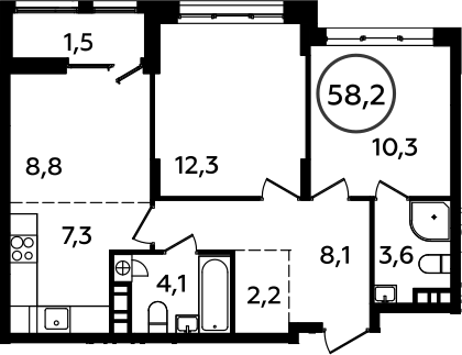 3Е-к.кв, 58.2 м², 10 этаж