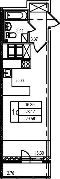 Студия, 31.08 м²