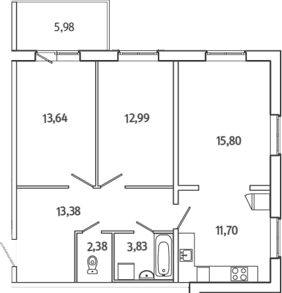3Е-комнатная квартира, 75.51 м², 1 этаж – Планировка